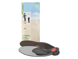 Anatomisches Fußbett gibt Halt und Stabilität, Fersenpolster mit Pelotte, Aktivkohleschicht gegen Fussgeruch, hochwertiges Leder